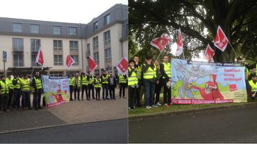 Rund 30 Kolleg_innen aus dem UCI  Ruhr Park Bochum haben den Verhandlungsauftakt mit einer Aktion unterstützt.
